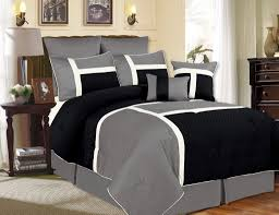 chic ideas black and grey comforter set king com 7 pieces stripe micro suede bed in a bag king size bedding home kitchen