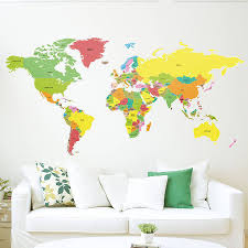 large countries of the world map wall sticker walls at decal