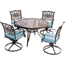 traditions 5 piece aluminum outdoor dining set with round glass top table
