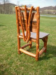 log rustic furniture amish. Rustic Log Sassafras Kitchen Chair - Great Authentic Interior Decor For A Cabin, Furniture Amish O