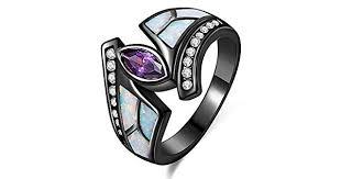 Jiangyue Lady Rings White Fire Opal <b>Purple Cubic</b> Zirconia Black ...