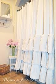 Fine White Ruffle Shower Curtain In Design Ideas