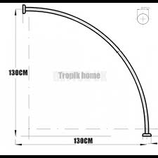 curved shower curtain rail rod with ceiling bracket and hooks chrome 130x130cm