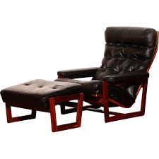 leather armchair and footrest lennart bender 1950s