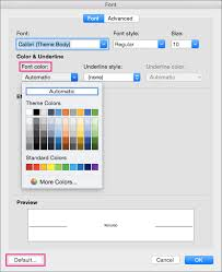 Small Picture Change the default text color font color in Word 2016 for Mac