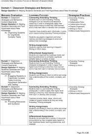 Marzano Elements Chart Correlation Map Of Learning Focused To Marzano S Evaluation