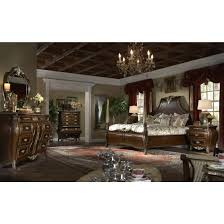 AICO Imperial Court 5pc King Size Poster Bedroom Set In Radiant Chestnut