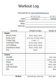 Weight Lifting Log Sheets Free Sample Weight Lifting Log Template