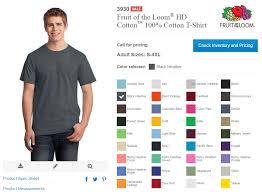 Fruit Of The Loom Color Chart 2017 Fruit Of The Loom Ht Cotton 3930 Digital Heat Fx