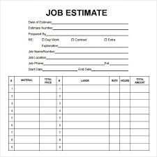 Simple Estimate Template 30 Job Estimate Template Pdf Simple Template Design