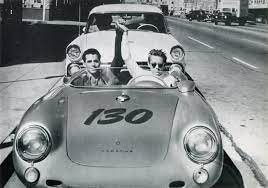 The Hollywood Museum - James Dean and German Porsche mechanic Rolf  Wutherich in front of Competition Motors in Hollywood the morning of  September 30, 1955. The crash later that day would cost