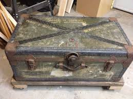 Old military trunk and reclaimed with metal caster wheels. :-) My
