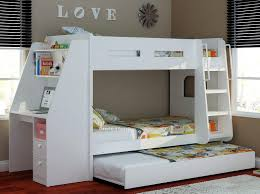 white wooden bunk beds with desk