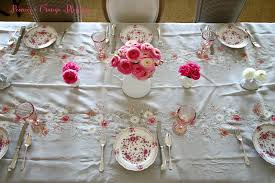 Table Setting In French Peonies And Orange Blossoms French Table Setting In Pink