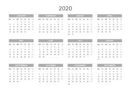 Yearly Calendar 2020 Printable Free For Agenda Calendar
