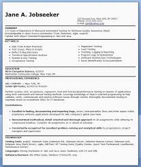 Qa Software Tester Resume Sample Entry Level Qa Resume Objective