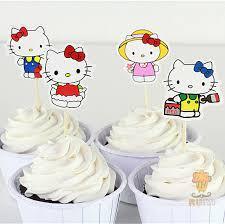 Aliexpresscom Beli 24 Pcs Hello Kitty Cup Cake Topper Pick Snow