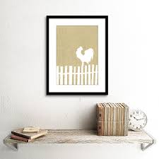 rooster fence white beige ilration black framed art