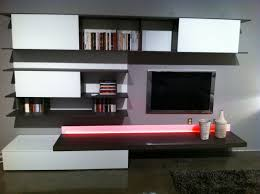 Tv Unit Designs For Living Room Living Room Varnished Wooden Tv Stand And Floating Storage Plus