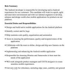 Android Application Developer Job Description Fred Resumes