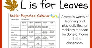 Fall Lesson Plans For Toddlers Crayon Freckles Toddler Playschool L Is For Leaves Lesson Plan