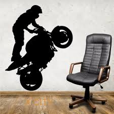 superbike wheelie motorbike stunt silhouette creative wall sticker vinyl art decal window stencil room decor s m l in wall stickers from home garden on  on motorbike wall art australia with superbike wheelie motorbike stunt silhouette creative wall sticker
