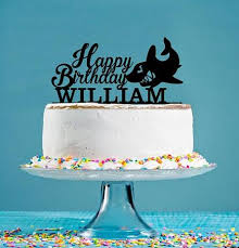 Personalized Name Acrylic Shark Happy Birthday Cake Toppers Baby