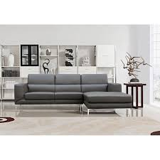 s0042 r 2 pc yuri contemporary dark gray tufted faux leather sectional sofa