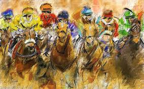 horse racing painting horse racing abstract by lourry legarde