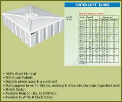 Sintex Water Tank Size Chart