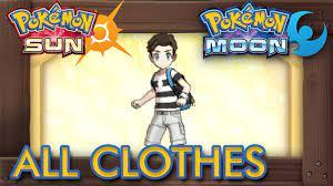 Pokémon Sun and Moon - All Clothes Male - YouTube