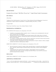 Receptionist Resume Resume For Receptionist With No Experience Best
