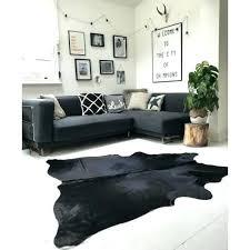 black hide rug exquisite natural black white