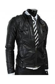 men s biker style leather jacket belted strap slim fit black jacket s jacket