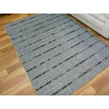 flatweave floor area rug gest dotted lines design silver grey rubber backed