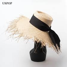 <b>USPOP 2019 New</b> Women Sun hat Raffia straw hat female lace up ...