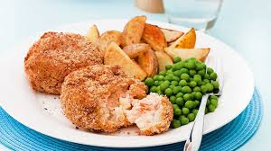 image salmon fishcakes with wedges and peas