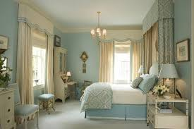 Beige Bedroom Wall Color with Dark Blue Wall Accent. Country Style Master