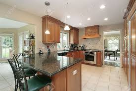 Granite Island Kitchen Kitchen In Suburban Home With Granite Island Stock Photo Picture