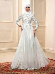 charming beading long sleeves a line floor length muslim wedding