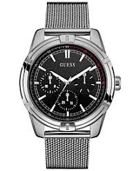 guess watches macy s guess men s stainless steel mesh bracelet watch 46mm u0965g1