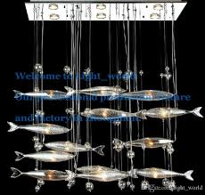 modern glass fly fish ceiling light swarm fishes chandelier dining room bar pendant lights crystal