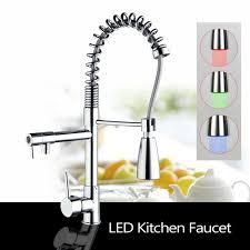 Us Led Kitchen Sink Faucet Swivel Spray Chrome Pull Down Swivel