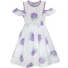 Details About Girls Dress Purple Hydrangea Flower Cold Shoulder Party Princess Size 5 12