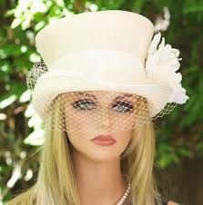 ivory cream top hat veil and lace ivory straw summer hat derby hat garden party hat tea party hat wedding hat melbourne cup