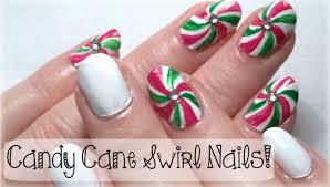 ♥ Christmas Nail Art Tutorial! CANDY CANE SWIRL NAILS! ♥ - YouTube