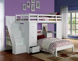 acme 37145 freya white finish wood twin loft bed with staircase and drawers