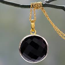 handcrafted 18k gold vermeil and onyx pendant necklace in black