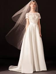 art nouveau wedding dress. temperley london spring 2018 crew-neck short sleeve a-line wedding dress with art nouveau e