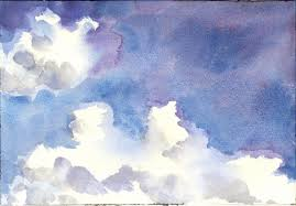 since i faced northwest they were moving toward the left of the watercolor this was painted at noon with dark storm clouds at my back